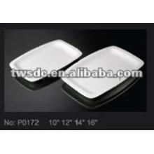 Hotel Geschirr Lieferant weißem Porzellan große Rechteck Platte Platte (No.P0172)
