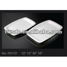 Hotel tableware supplier white porcelain big rectangle platter plate (No.P0172)