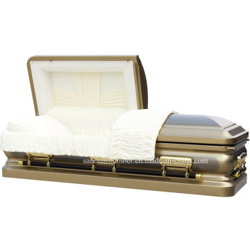 18ga Gloden Brush Steel Casket for Funeral