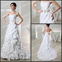 Diseño único Tiered A-line Whosale Whosale de alta calidad de la boda de muestra real