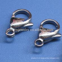 BXG017 vente en gros 304 fermoir en laine de homard en acier inoxydable pour la fabrication de bijoux 9/10/12/13/15 mm