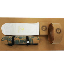 Yugland Hot selling home exercise premium quality custom logo Non-slip Natural Cork Rubber Yoga Mat Set
