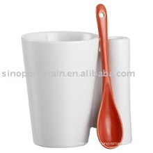 white porcelain mug special handle with spoon for BS09085