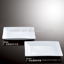 double line rectangular porcelain dinner plates