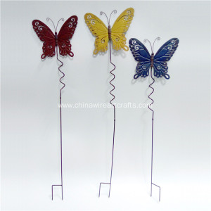 Metal Set Of 3 Butterfly Garden Stake