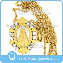 Cadeia de ligação de ouro na moda religiosa com a virgem maria atacado cristo 316 colar de corrente de aço inoxidável