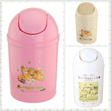 Plastic Printed Flip-on Garbage Bin for Home (FF-5235-3)