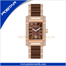 Popular Elegant Swiss Watch for Ladies with Ceramic Band