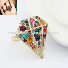 Atacado anel de diamante ajustável anéis de moda indiana única