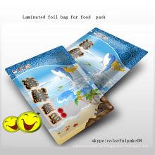 Bolso de empaquetado de comida de encargo del bocado de los mariscos de la hoja del prited