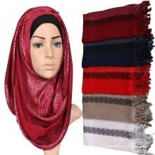 2017 color sólido a rayas mujeres llanura musulmana arab glitter árabe una pieza bufanda de pavo hijab con borlas