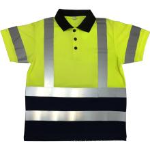 Breathable fluoreszierende gelbe orange lange Hülse Soem-kundenspezifische Firmenzeichendrucksicherheit T-Shirts mit 3M reflektierendem Band