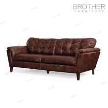 Canapé fabricant moderne en bois cadre salon canapé en cuir avec coussin épaissi