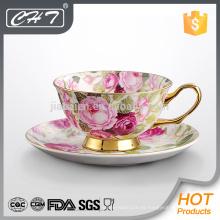Porcelana de oro moderno borde personalizada de hueso china taza de café y platillo