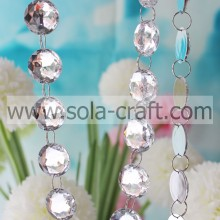 Mirror Chunky 16MM Acrylic Faceted Teardrop Round Crystal Garland With White Color