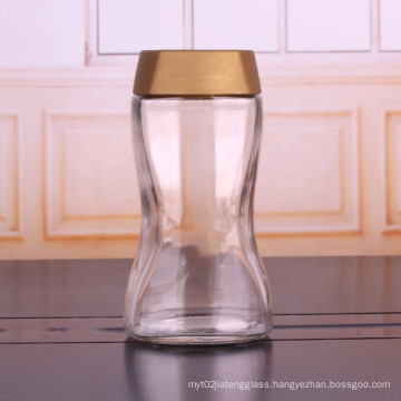Clear Glass Jar 750ml Hot Sale Ground Coffee Jars With Gold Plastic Lids