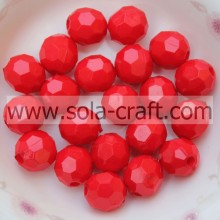 Acrylic Charm Spacer Beads Faceted Round Mixed Loose Acrylic Plastic Red Beads 4MM