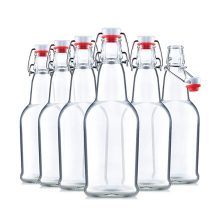 Glass Swing Top Beer glass Bottles 16oz 500ml clear Brewing Bottles with Flip-top Airtight