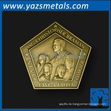 kundenspezifische münzen, fertigen sie qualität soldatmünze, fünfeckform an