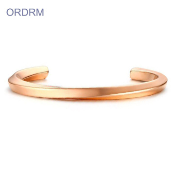 Elegante Aço Inoxidável Rose Gold Open Cuff Bangle
