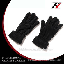 Winter outdoor black full finger fleece gloves with elastic on the wrist