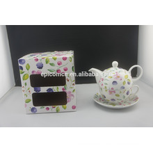 New arrival popular personal porcelain graceful flower tea pot cup set for one