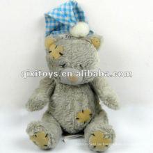 100% süßer grauer Schlaf Plüsch Mini Teddybär mit Santa Mütze