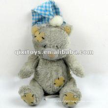 100%lovely grey sleep plush mini teddy bear with Santa cap