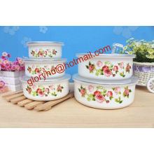 fashional enamel mixing storage bowl with PP lid
