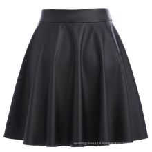 Kate Kasin Women's Basic Casual Synthetic Leather Flared A-Line Mini Skirt KK000519-1