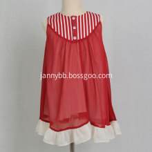 Hot Sell Boutique Vintage Red Striped Girl Dress
