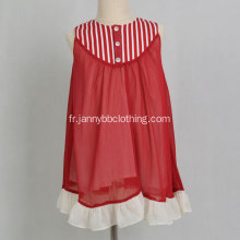 Hot Sell Boutique Vintage Robe fille rayée rouge