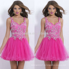 2014 Top-Qualität rosa A-Linie Heimkehr Kleider Spaghetti-Trägern Tüll mit schwerem Kristall-Akzent kurzes Abschlussball-Kleid NB0462 gebildet