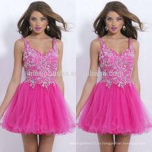 2014 высокое качество розовый трапеция homecoming платья бретельках тюль сделан с крупной хрусталь короткие Пром платье NB0462