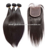 Top lace closure with 3 bundles for women, could be dyed to any colors