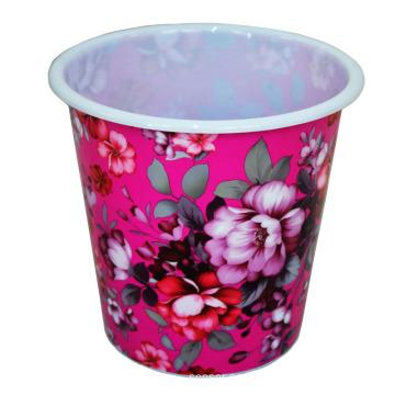 Plástico creativo flor impreso papelera (b06-032)
