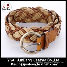 Cinturón de cuero trenzado de moda de Ladie