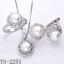 Ювелирные изделия перлы стерлингового серебра 925 комплект ювелирных изделий с CZ.
