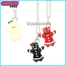 Wholesalecustom Metal Alloy Silver Enamel Gingerbread Man Charm Necklace