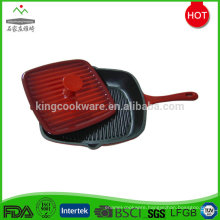2017 popular square cast iron fry pan with lid