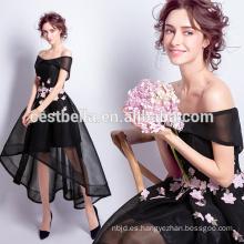 Negro Bridemaid vestidos de gasa corto de la parte delantera de largo vestidos de fiesta de la parte posterior Negro flor impresa