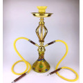 Double tube gold glass hookah