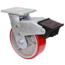 PU pivotante sur roulette en fonte avec double frein (rouge)