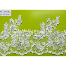 Цвета слоновой кости вязаного кружева вышивки кружева ткань цветок отделка CTC155 для Ветроуловителя шеи и свадебное платье