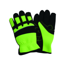 Outside Work Glove with Floral Printing Microfibre Palm &Stairs Cloth Back, Sponge Liner