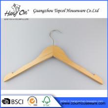 Cintre de pantalon bois clos ouvert A Grade Normal vêtements cintre en bois