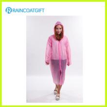 Полная Длина розовый ПЭ с длинным рукавом Disposbale дождевик