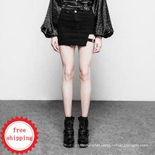 OPQ-302 PUNK RAVE women black designer skirt  sexy skinny women denim skirt