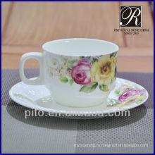 Фарфоровая фабрика костяного фарфора кофейная чашка с блюдцем с цветочным узором