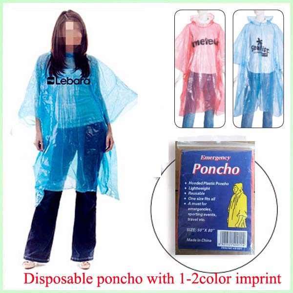 black disposable rain ponchos packs